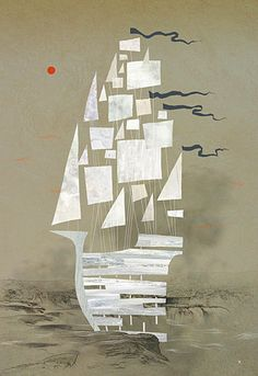 This design grabbed my attention for its simplicity and contrasted colors. The geometry used in this art makes this design stand out because it doesn't contain much lines, which makes this boat look in motion.
