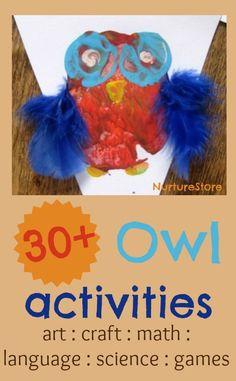30+ owl activities : owl crafts, math, language, art, science, games.
