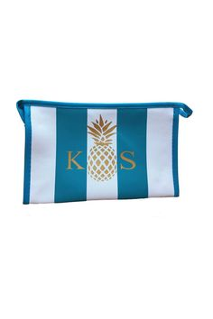 Turquoise and White Stripe Cosmetic Case with your Personalized Monogram - This is a great bag for make-up or to throw within your beach bag! For monograms, please email your 2-3 letters as you would like them to appear from left to right and COLOR choice to stylist@shoptiques.com. All monogram items are final sale.     Measures: 8 x 6.2 x 4.6 inches   Moogram Cosmetic Case by Highpoint Home. Bags - Cosmetic Pouches Rhode Island