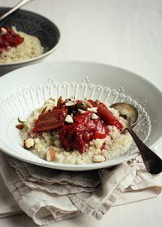 quinoa porridge with roasted strawberry rhubarb compote.