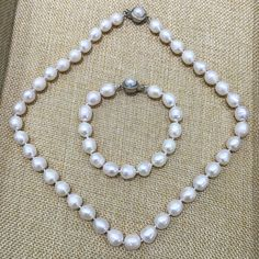 low price 9-10mm white pearl necklace and bracelet set real natural Cultured Freshwater pearl teardrop shape Classic for women #Affiliate