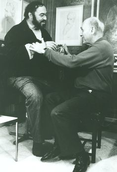 Luciano Pavarotti and Sir Georg Solti in London (probably the Royal Opera or Convent Garden)
