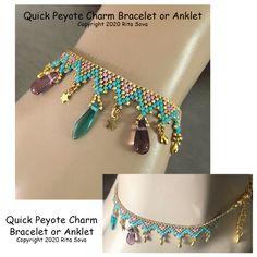 Quick Peyote Charm Bracelet or Anklet, Sova Enterprises Beaded Bracelet Patterns, Beaded Bracelets, Peyote Beading Patterns, Bracelet Designs, Beaded Anklets, Beaded Jewelry, Hanging Beads, Ankle Chain, Loom Bracelets
