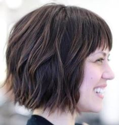 Classy Short Haircuts and Hairstyles for Thick Hair Wavy Choppy Bob With Short BangsWavy Choppy Bob With Short Bangs Bob Hairstyles 2018, Short Hairstyles For Thick Hair, Layered Bob Hairstyles, Haircut For Thick Hair, Short Hair Cuts, Short Hair Styles, Wavy Hair, Pixie Cuts, Hair Bangs