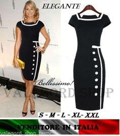 Dress-abito-anni-50-tubino-vintage-retro-robe-BOTTON-nero-ELEGANTE-donna-vestito