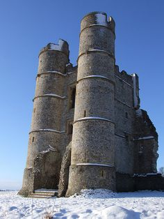Donnington Castle in the snow - just north of the town of Newbury in the English county of Berkshire.