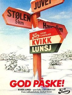 kvikklunsj chocolate is a must in norway when going hiking. Tradition, especially for easter trips, when many norwegians go skiing in the mountains Vintage Ski Posters, Vintage Ads, History Of Chocolate, Stations De Ski, Lost In The Woods, Ancient Symbols, Stavanger, Norway, Skiing