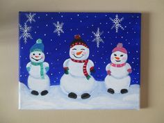 Items similar to Snowman Painting on Canvas, Snowman Art, Christmas Painting ORIGINAL on Etsy Christmas In July, Christmas Art, Family Christmas, Frosty The Snowmen, Snowman, Christmas Paintings On Canvas, Teen Decor, Family Painting, Art For Kids