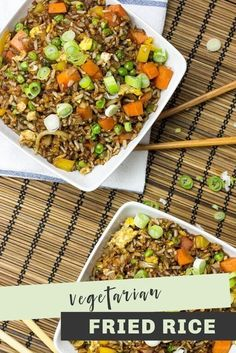 Everybody should know how to make veggie fried rice. This recipe from HurrytheFoodUp is hands down one of the most delicious and easiest ways to use up leftovers. Ready in 12 minutes max. This filling meal is just right for dinner tonight! #vegetarian #rice #friedrice #healthy #leftovers #mealplan #easy Vegetarian Fried Rice, Veggie Fried Rice, Vegetarian Recipes Dinner, Veggie Recipes, Cooking Recipes, Healthy Recipes, Healthy Food, Dinner Recipes, Vegetarian Food