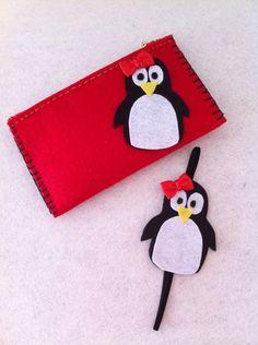 Keçeden penguen çanta, kitap ayracı. Felt penguen