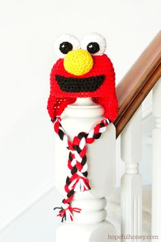 Sesame Street Elmo Inspired Baby Hat Crochet Pattern via Hopeful Honey