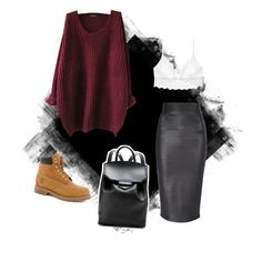 A fashion look from December 2014 featuring Only Hearts bras, Jane Norman skirts and Timberland boots. Browse and shop related looks.