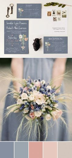 dusty blue and peach wedding color inspiration, peach and blue wedding theme, beach wedding, boho wedding colors, natural wedding Soft color pallet with dusty blue and peach. Adorable wedding colors inspired by rustic wedding invitations wedding fall idea Peach Wedding Colors, Wedding Color Schemes, Colour Schemes, Peach Weddings, Spring Wedding Colors, Spring Theme, Beach Wedding Colour Scheme, Wedding Color Palettes, Color Combos