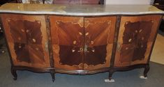 French Marble Top Server/Credenza large inlaid tulip wood buffet server | eBay