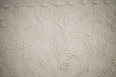 DATED 1871 WHITEWORK TRAPUNTO QUILT JONQUILS + PINEAPPLES HEAVILY QUILTED