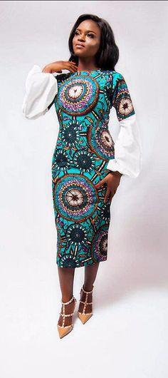 Erilyn by Temitope Amina Dress. Mordern Ankara Dress with white long sleeves.  Ankara | Dutch wax | Kente | Kitenge | Dashiki | African print dress | African fashion | African women dresses | African prints | Nigerian style | Ghanaian fashion | Senegal fashion | Kenya fashion | Nigerian fashion | iro and buba (affiliate)