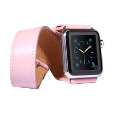 [$14.79] Double Circle Style Metal Buckle Cowhide Leather Watchband with Connector for Apple Watch 42mm(Pink)
