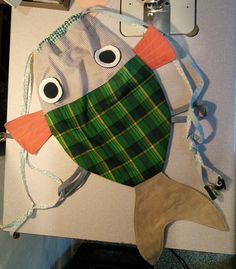 RESERVED LISTING for Rakel Casals - Along with my Fish friend - Drawstring backpack for children- Nursery - Ready to ship