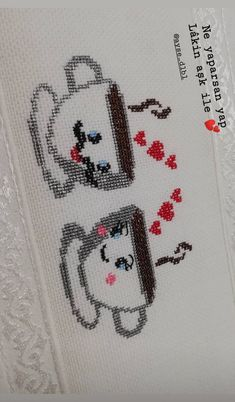 Cross Stitch Beginner, Cross Stitch Designs, Cross Stitch Embroidery, Knit Crochet, Knitting, Embroidered Towels, Cat Pattern, Kids Beanies, Cross Stitch Fairy
