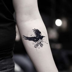 Geo Raven Temporary Tattoo Sticker (Set of can find Crow tattoos and more on our website.Geo Raven Temporary Tattoo Sticker (Set of Small Tattoos Men, Black Crow Tattoos, Crow Tattoo For Men, Black Bird Tattoo, White Tattoos, Cool Tattoos For Guys, Tattoo Women, Tattoo Small, Baby Tattoos