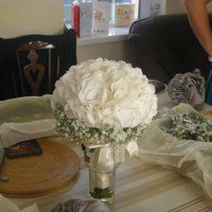 Wedding bouquet, white hydrangea. Thanks buds and berries xx