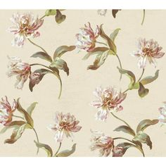Large Parrot Tulip Wallpaper, Oyster Pearl/Soft Green/Purple