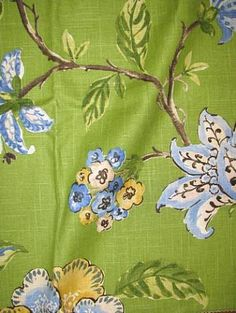 """Robert Allen Fabric 55% linen 45% rayon up the roll floral print. 27"""" repeat. 54"""" wideLes Fauves Grasslands"""