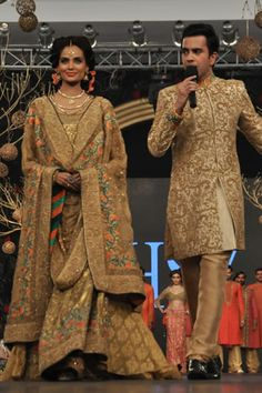 Gold lengha by HSY at PFDC L'Oreal Paris Bridal Week 2013