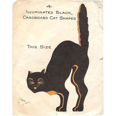 Here for your consideration is this wonderful Halloween decorative Illuminated black cardboard cat shapes made by the Hall Brothers in the 1920's.