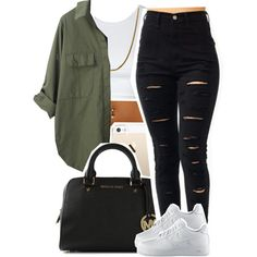 A fashion look from September 2014 featuring NIKE shoes and MICHAEL Michael Kors handbags. Browse and shop related looks.