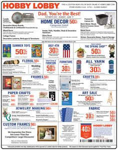 hobby lobby coupons sales schedule … crafts and home