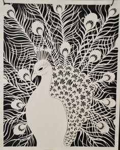 Peacock, cut out of paper. Diy Paper, Paper Art, Paper Crafts, Kirigami, Cut Out Art, Paper Cutting Templates, Peacock Art, Diorama, Line Art