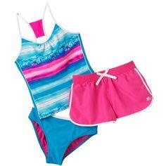 7ee65bc7a6 $54.00 ZeroXposur Palm Tree Striped 3-pc. Tankini Swimsuit Set - Girls Plus