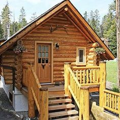 Banff Log Cabin Guesthouse featured on tinyhouseblog.com please swipe left to view all 6 photos