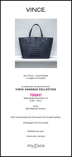 We hope to see you at Vince. for our fashion event THIS EVENING! 20% of all proceeds from 6-9pm will be generously donated to support myFace children and families. **RSVP not required to attend. #vince #fashion #fallfashion #ootd #handbags #fashiongirls #cleft #craniofacial