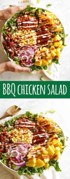 BBQ Chicken Salad with Greek Yogurt Ranch Dressing - Robust Recipes - BBQ chicken salad is loaded with grilled BBQ chicken, corn, pineapple, smoked cheddar cheese, BACON - Chicken Salad Dressing, Yogurt Ranch Dressing, Greek Yogurt Ranch, Homemade Greek Yogurt, Bbq Chicken Salad, Grilled Chicken Salad, Chicken Salad Recipes, Bbq Salads, Dinner Salads