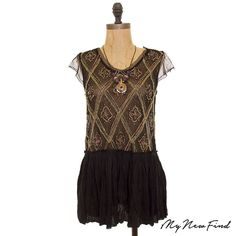 NWOT FREE PEOPLE HOLIDAY TO INDIA BEADED PEPLUM KNIT SHEER TOP BLACK S M L B3 #FreePeople #Peplum #EveningOccasion
