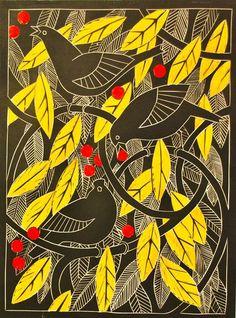 Blackbirds in the crabapple tree linocut by Celia Lewis
