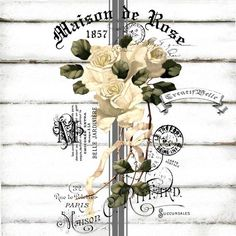 French Vintage Maison de Rose Large A4 Instant Digital Download Shabby Chic Printable Graphic Iron on Fabric Transfer Decoupage Card Tag