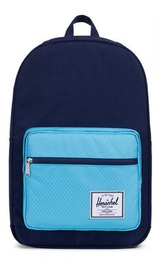 It's the all-new Herschel Pop Quiz Backpack Poly Peacoat/Bachelor Button. Based on the popular Pop Quiz model from Herschel, this style is known and loved for having extra pockets, a waterproof front zipper, an internal key clip, Bachelor Buttons, Stylish Backpacks, Herschel Supply Co, Latest Fashion, Womens Fashion, Purses And Bags, Contrast, Stuff To Buy