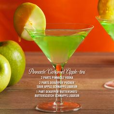 A delicious recipe for a fall cocktail, the Pinnacle Vodka Caramel Apple-tini: Caramel Apple-tini —  2 parts Pinnacle® Vodka 2 parts DeKuyper® Pucker® Sour Apple Schnapps Liqueur 1 part DeKuyper® Buttershots® Butterscotch Schnapps Liqueur Our new favorite way to go apple picking!