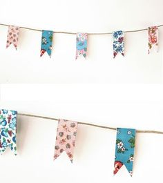 My kitchen needed some happy so I took 10 minutes and made this little paper bunting and put it above my sink. I think it could be an eas. Birthday Party Themes, Girl Birthday, Washi Tape Diy, Masking Tape, Easy Party Decorations, Paper Bunting, Pop Up Cards, How To Make Paper, Planner Stickers