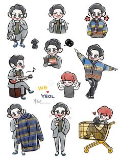 Exo Stickers, Phone Stickers, Exo Anime, Exo Fan Art, Short Comics, Exo Chanyeol, Exo Members, Kpop Fanart, Doodle Art