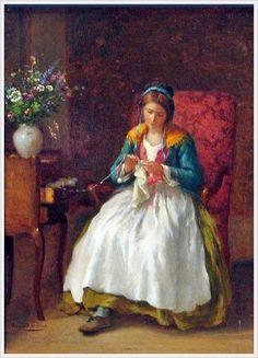 "«La fille au crochet» - ""La niña del ganchillo"" - Armand Hubert Simon Leleux (1818-1885) - Pintor realista francés de Paris."
