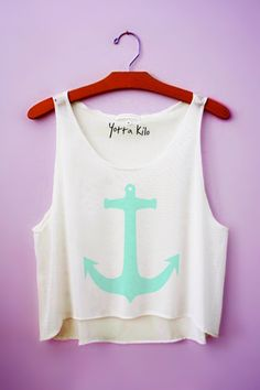 Yotta Kilo Anchors Crop Tank Top in Light Green (Mint)