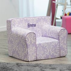 Here and There Personalized Kids Chair - Purple Damask