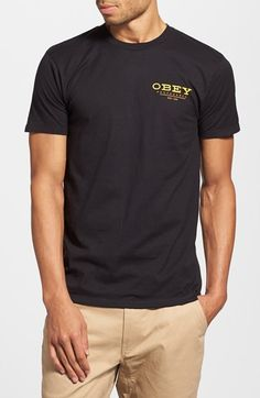 Free shipping and returns on Obey 'Frank' Graphic T-Shirt at Nordstrom.com. Cool logo graphics detail the front and back of a trim-fitting crewneck T-shirt cut from pure cotton.
