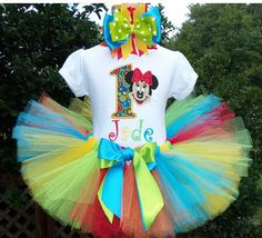 Primary Rainbow Minnie Mouse Birthday Tutu Outfit
