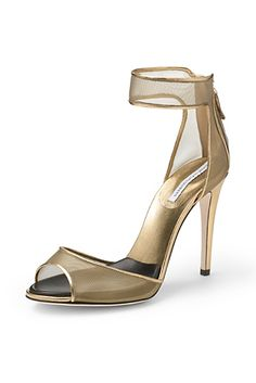 Rae Mesh Sandal In Gold Mesh/ Gold Metallic Leather | DVF | cynthia reccord
