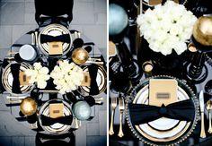 Un centre de table pour une décoration de mariage en noir et blanc